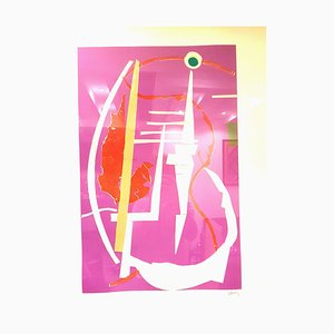 Litografia André Lanskoy - Abstract Pink Composition - Original Lithograph 1960s