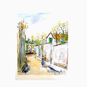 Maurice Utrillo - Pueblo inspirado de Montmartre - Pochoir 1950