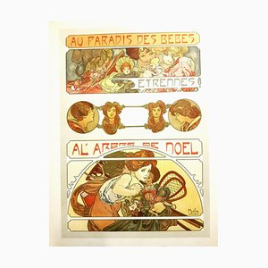Lithographie Originale Alfons Mucha - Christmas Baby Party 1902