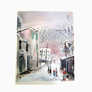 Inspired Village of Montmartre - Pochoir 1950
