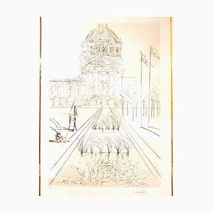 Gravure à l'Eau Forte Original Salvador Dali - San Francisco - City Hall