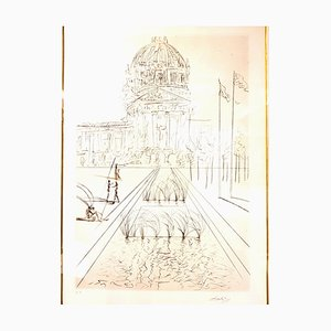 Salvador Dali - San Francisco - City Hall - Original Handsigned Etching 1970