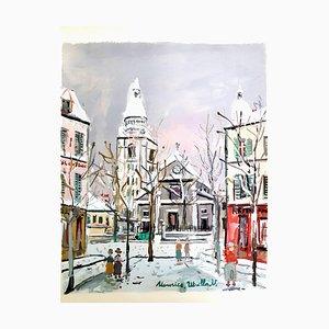 Inspiriertes Dorf von Montmartre - Pochoir 1950