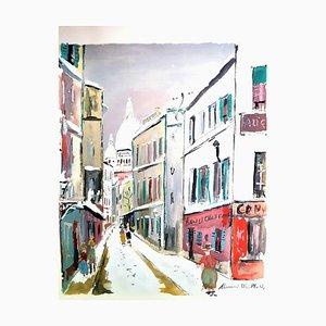 Sacré Coeur - Dorf von Montmartre - Pochoir 1950