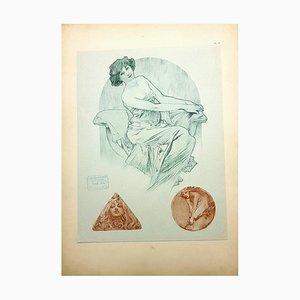 Lithographie Originale Alfons Mucha - Femmes 1902