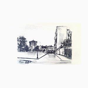 Maurice Utrillo - Pariser Straße - Übertragung Lithographie 1927