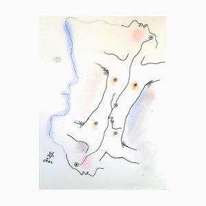 Lithographie Jean Cocteau - Dual - Original Handcolour 1930