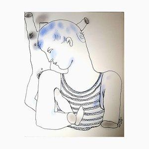 Lithographie Jean Cocteau - White Book - Original Handcolourograph 1930