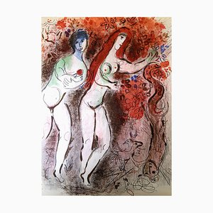 Lithographie Originale de Marc Chagall - The Bible - Adam and Eve