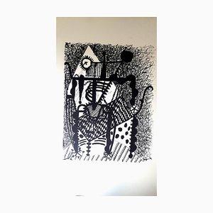 Incisione su legno di Pablo Picasso (dopo) Helene Chez Archimede 1955