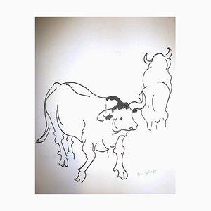Pierre Ambrogiani - Kühe - Signierte Zeichnung