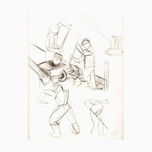 Louis Toffoli - The Workers - Dessin Original Fusain 1970s
