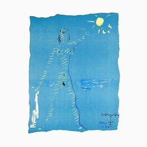 Jean Cocteau - Under the Fire Coat - Original Lithographie von 1954