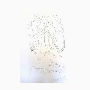 Gravure à l'eau forte de Salvador Dali - Adam and Eve, 1971