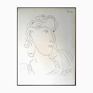 Lithographie - Femme aux Fleurs dans les Cheveux, 1943