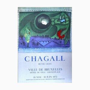 Affiche d'Exposition Marc Chagall - Bruxelles Oeuvre Gravé 1972