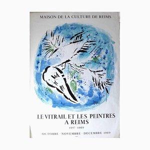 Poster Marc Chagall - Le Vitrail et les Peintres à Reims - vintage, anni '60, 1969