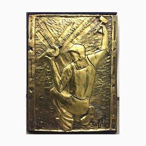 Louis Toffoli - The Blacksmith, Original Bronze Bas Relief Circa 1986