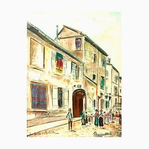 Maurice Utrillo (After) - Rue Cortot in Montmartre, Signiertes Lithografieplakat