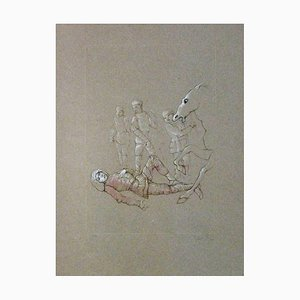 Leonor Fini - Man Forlen from Horse, Hand-Signed and Numbered Engraving