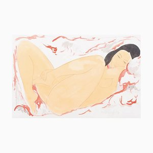 Alain Bonnefoit - Lying Nude - Acrylic Painting 1995