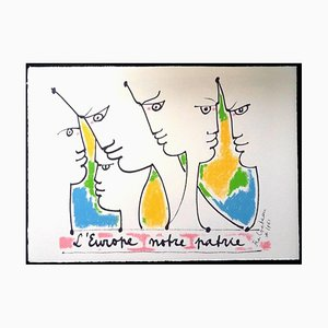 Jean Cocteau - Europe's Founders - Original Lithograph 1961