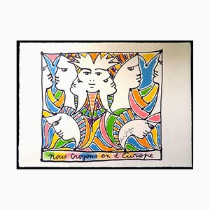 Jean Cocteau - Europe and the World - Original Lithograph 1961
