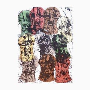 Arman - Songué Masks accumulation - Litografía original firmada 1998
