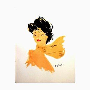 Domergue - Dame mit dunklem Haar und Schal - Original Signierte Lithographie 1956