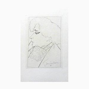 Lithographie de Jean Cocteau - Portrait de Colette - Lithographie Originale Circa 1941