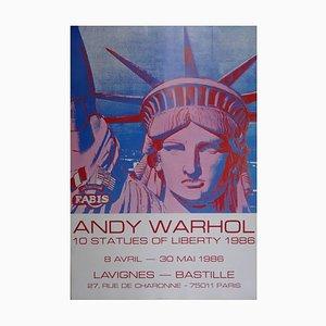 Póster de exhibición vintage - después de Andy Warhol - Statues of Liberty 1986