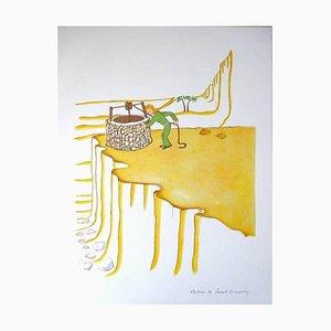Antoine de saint Exupery - Kleiner Prinz - Wüstenbrunnen - Original Lithographie