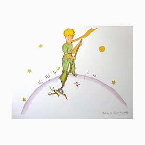 Antoine de saint Exupery - The Little Prince Gardening- Original Litograph