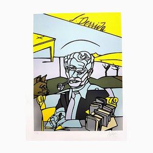 Valerio Adami - Jacques Derrida - Signierte Originale Lithographie 2014