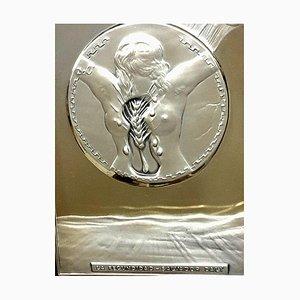 Scultura Salvador Dali - Fecondity - Bas Relief color argento, 1977