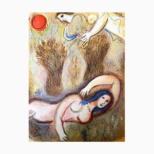Marc Chagall - The Bible - Boaz se réveille et voit Ruth - Original Lithograph 1960