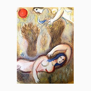 Marc Chagall - The Bible - Boaz wakes up and sees Ruth - Original Lithograph 1960