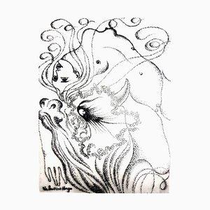 Valentine Surrealist Woman - Original Etching 1946