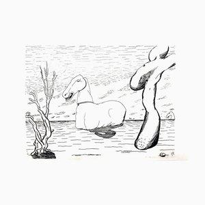 Roger Vieillard - Surrealist Horse - Original Etching 1946