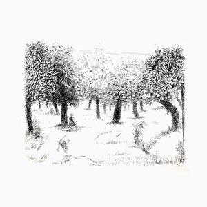 Robert Lotiron - Landscape - Original Etching 1946