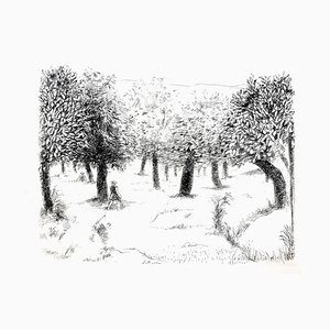 Robert Lotiron - Landschaft - Original Radierung 1946