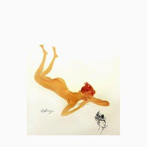 Domergue - Française - Signierte Originale Lithographie von 1956