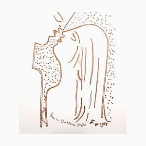 Lithographie Jean Cocteau - The Kiss - Lithographie Originale, 1958