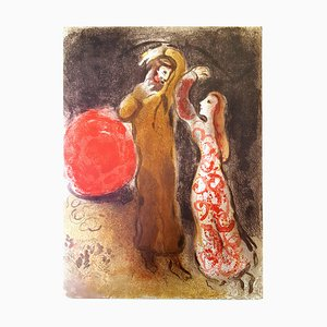Litografia Chagall - Meeting of Ruth and Boaz - Original Lithograph 1960