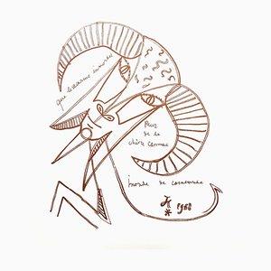 Litografia originale 1958 di Jean Cocteau - Immortal Goat