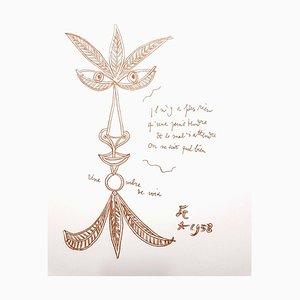 Lithographie Jean Cocteau - The Voice - Original 1958