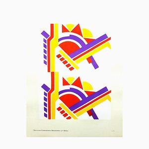 Composición de Serge Gladky - Art Déco colorida - Original Pochoir C.1925