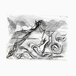 Jacques Villon - Cubismo surrealista - Grabado aguafuerte original 1946