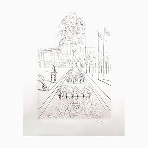Salvador Dali - City Hall - San Francisco - Original Hand-Signed Etching 1970