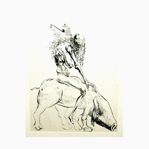 Salvador Dali - Baubo (Woman Riding a Sow), from Faust - Original Etching 1969